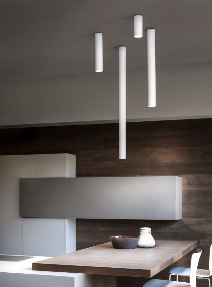 Four sizes of A-Tube Ceiling Light by Studio Italia Design in the kitchen