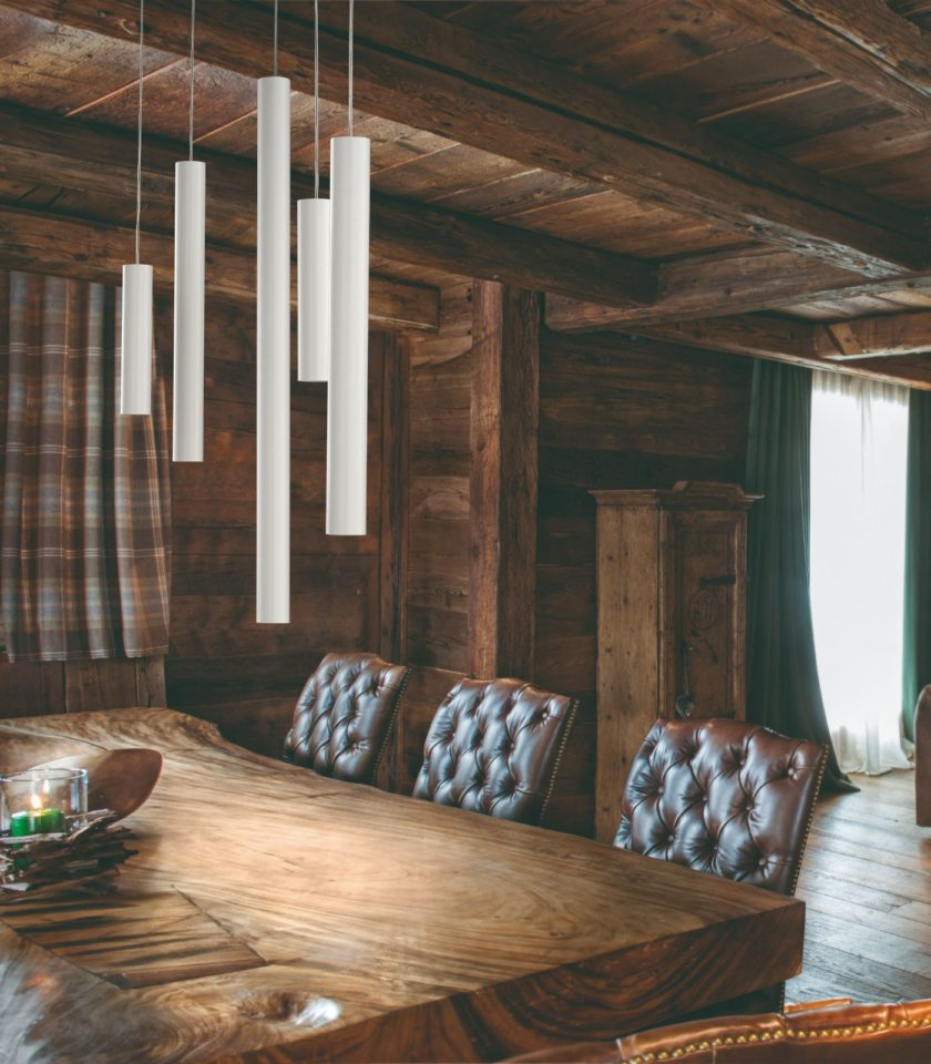 A-Tube Pendant Light by Studio Italia hanging over dining table